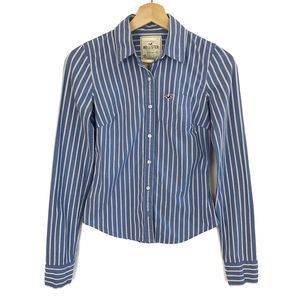 Hollister Stretch Top Blue White Striped Size XS